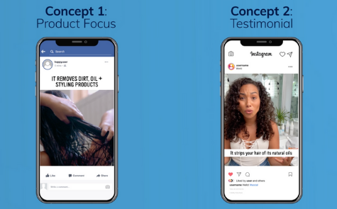"""2 phones depicting two unique performance marketing video ads for the same company. The first video is testing the concept of """"Product Focus"""" while the second is testing the concept of """"Testimonial""""."""